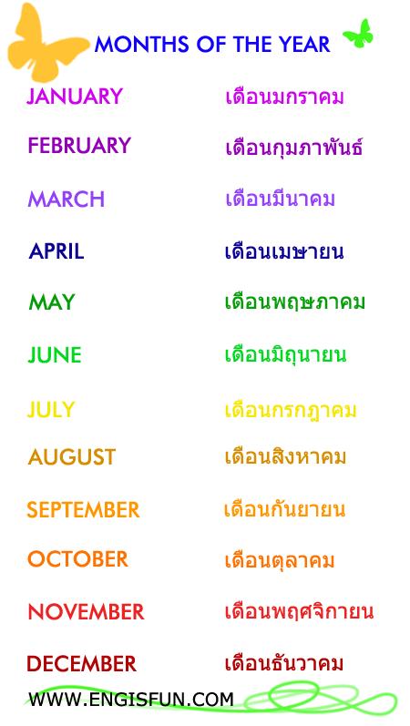 เดือน ภาษาอังกฤษ